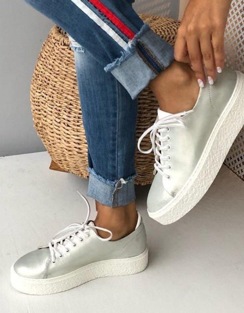 Poetic Silver Crackle Sneakers