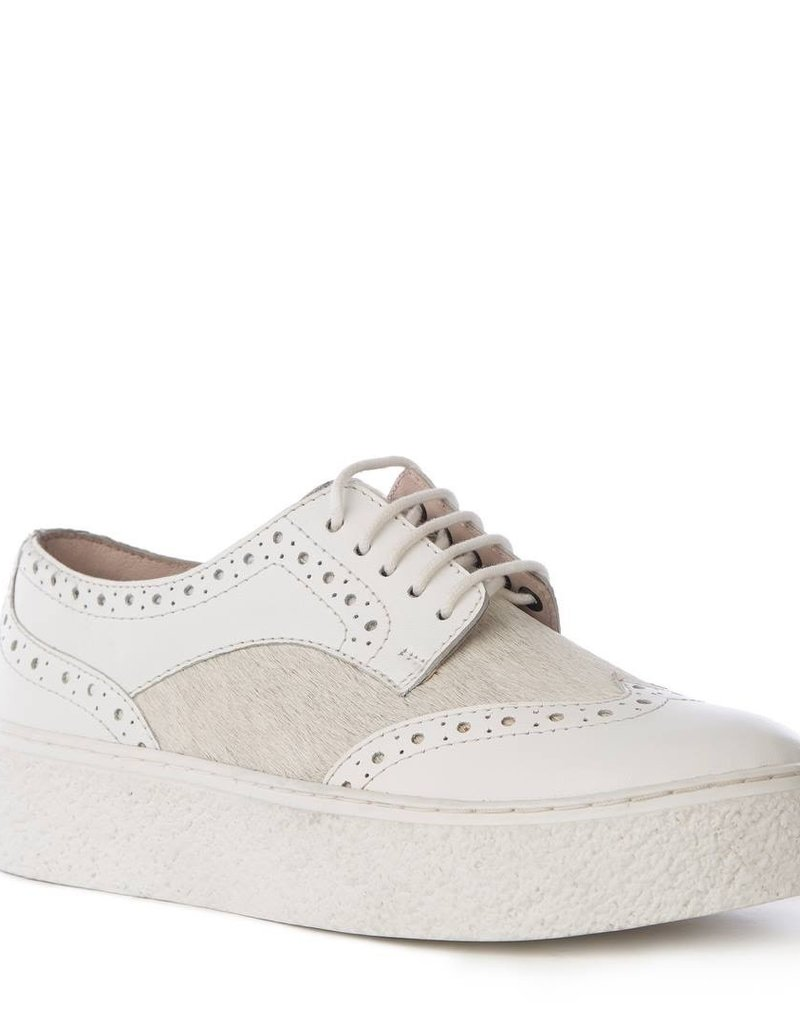 Ideal White Leather Pony Platform Sneakers