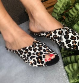 Slide Sandal Fur Leather Leopard