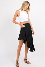 Asymmetrical Skirt with Side Buttons and Ruffles Details