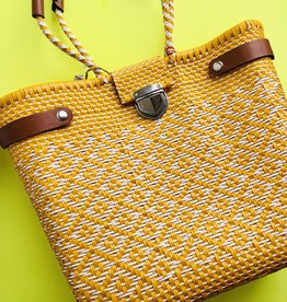 Yellow and Leather Detail Embroidery Bags