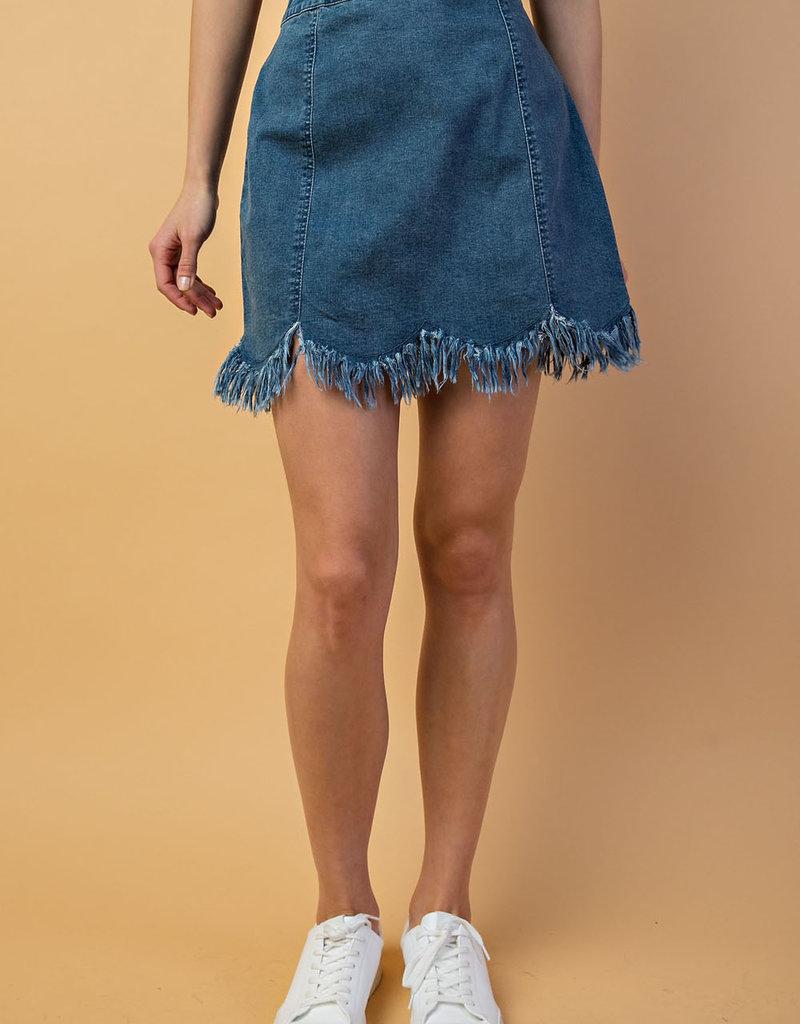 Fringed Denim Skirt