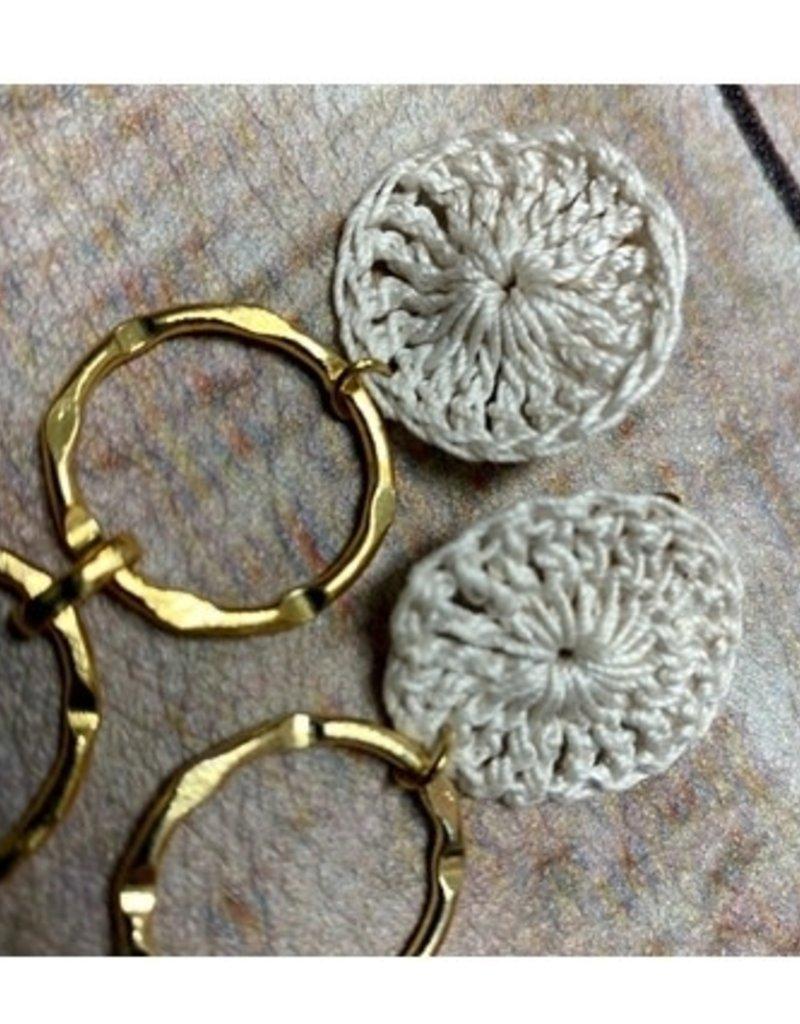 Crochet Tri-Aro Ivory Earrings