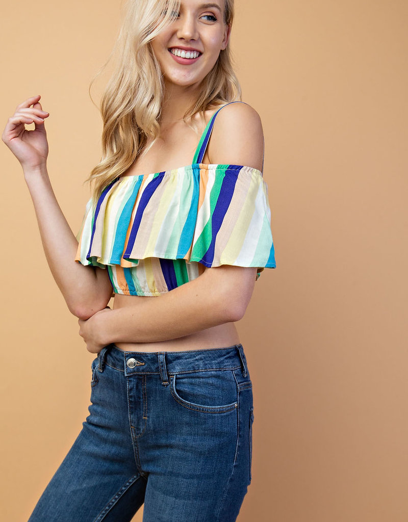 Stripe Print Off Shoulder Top