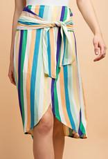 Striped Tulip Skirt w Waist Tie