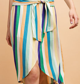 Striped Tulip Skirt w Waist Tie