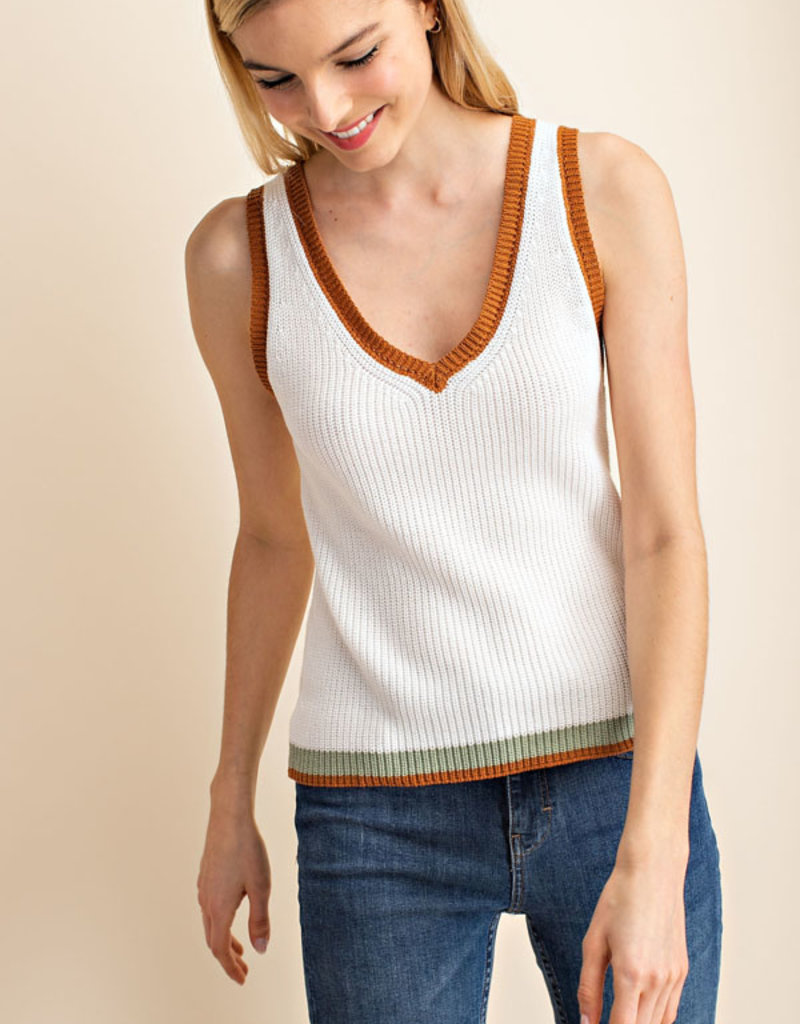 Colores Trim V Neck Tank Top