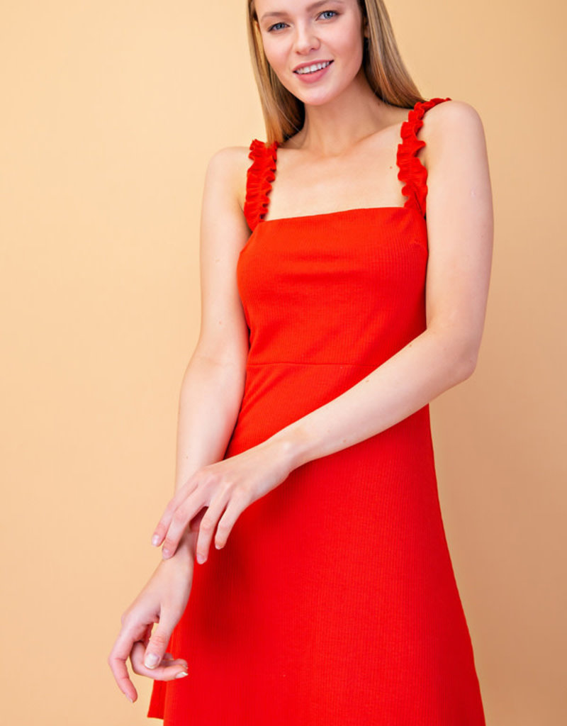 Shoulder Ruffle Strap Knit Mini Dress