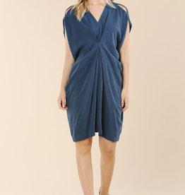 Linen Dress W Front Cinch