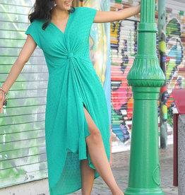 Green V Neck Midi Dress