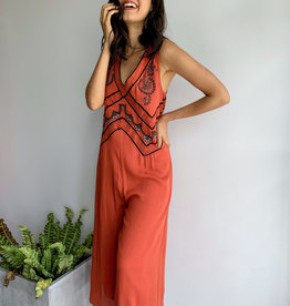 Embroidery Sleeveless Jumpsuit