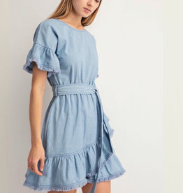 Ruffle Detail Front Tie Dress
