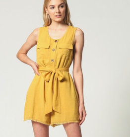 Sleeveless Front Buttom Romper/ Fringe Hem