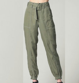 Contrast Thread Detailed Tencel Jogger Pants