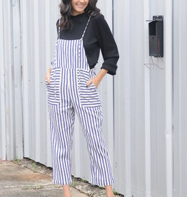 Striped Linen Overalls