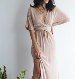 Short Sleeve Waist Tie Maxi Dress w Slit