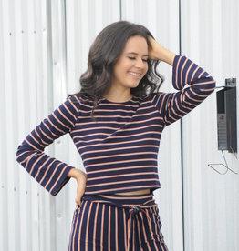 Long Sleeve Multi Stripe Crop Top