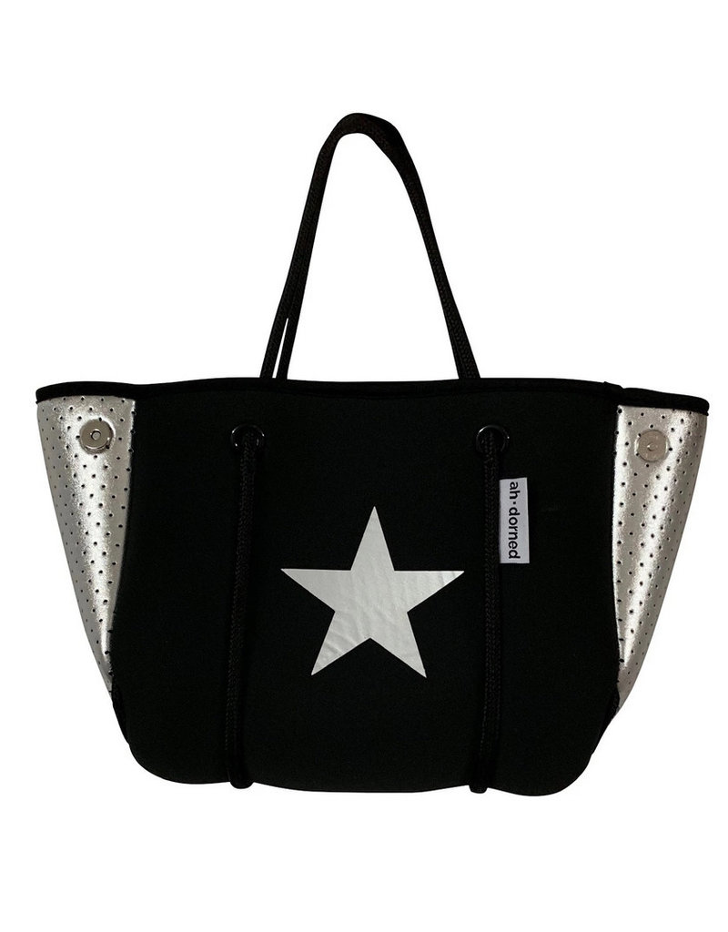 Black Neoprene Bag w Silver Star Silver Perforated Sides