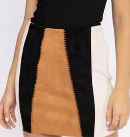 Suede Colorblock Mni Skirt