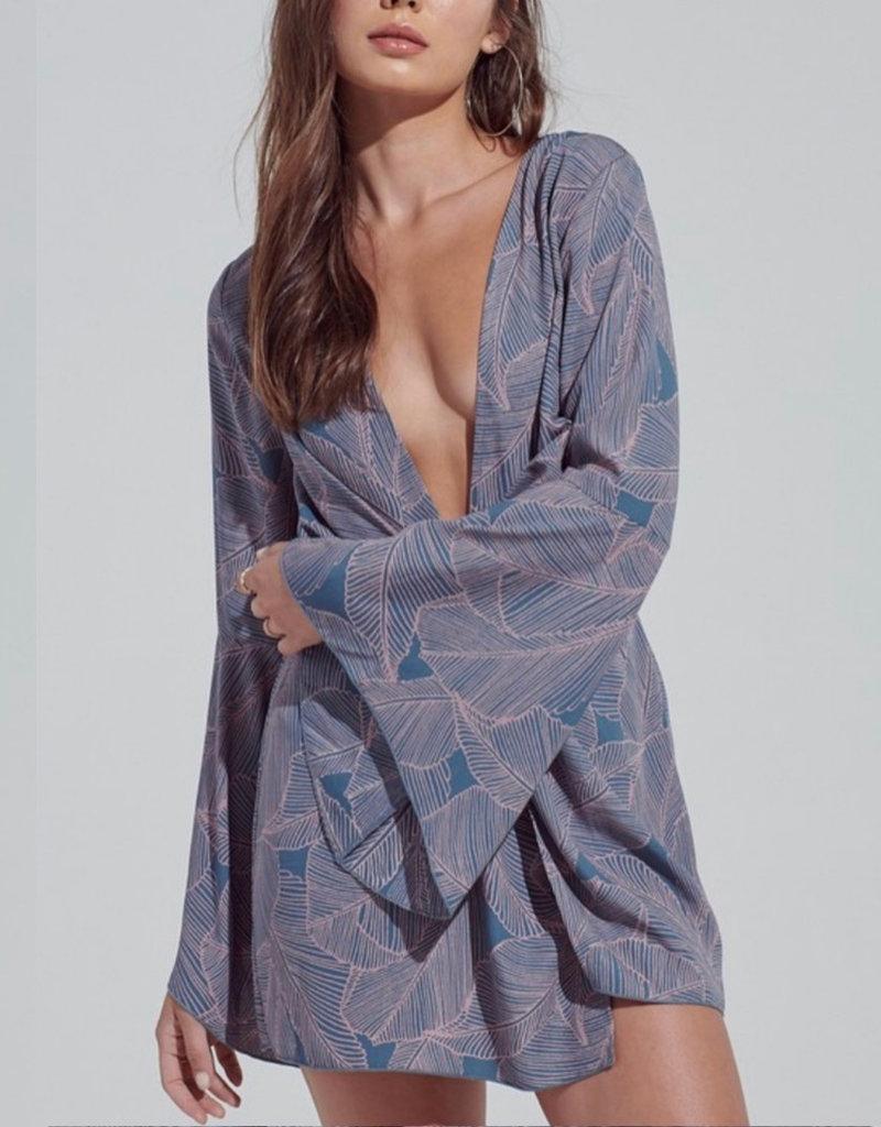 Deep V Neck Printed Dress