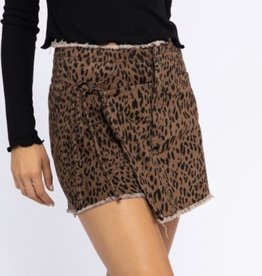Animal Print Wrap Detail Denim Short