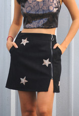 Stars Faux Suede Zip-Up MiniSkirt