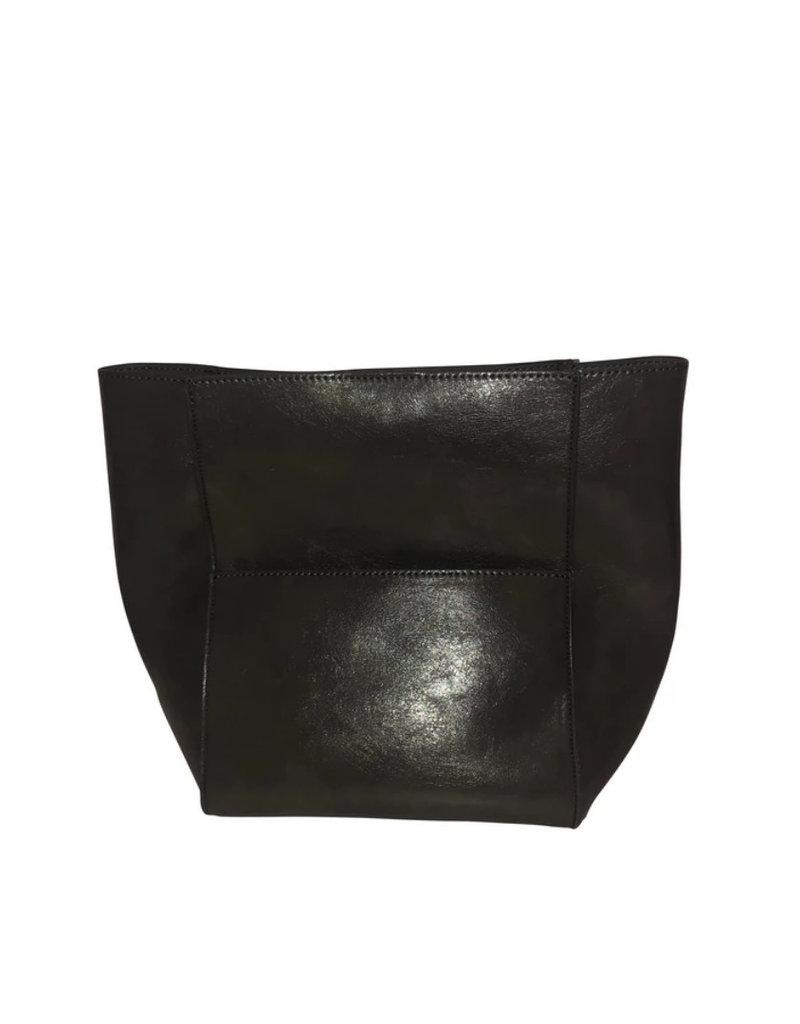 Medium Black NO STRAP Faux Leather Multi Pocket Bag