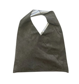 Grey Silver Reversible Suede Shoulder Bag