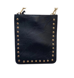 Black Vegan Crossbody W Gold Studs & Chain