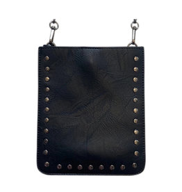Black Vegan Crossbody w Gunmetal Studs & Chai