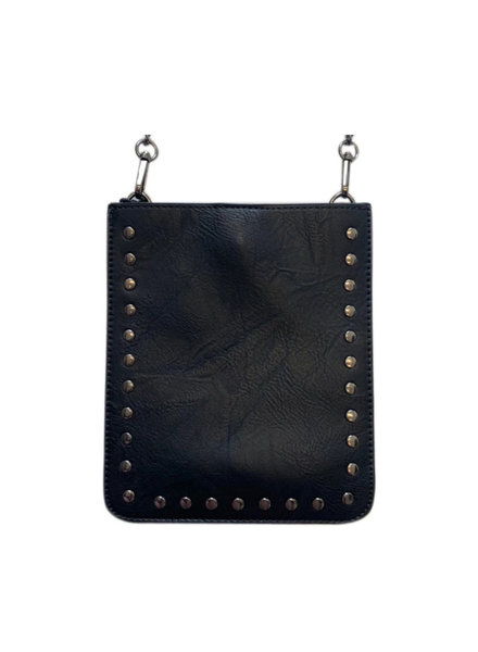 Black Vegan Crossbody w Gunmetal Studs & Chain