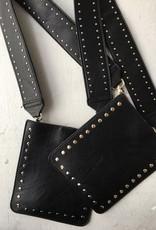Black Vegan Crossbody w Gunmetal Studs & Chain