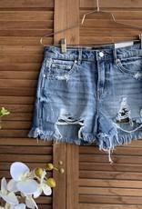 Paloma High Rise Cut Denim Shorts Camo Pocket