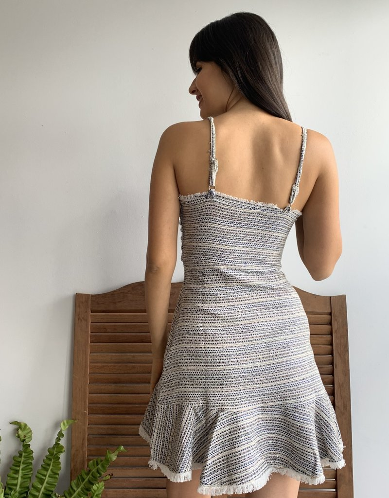Sequin Embellished Tweed Texture Cut Out Dress