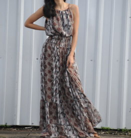 Snake Print Smocked Waist Maxidress
