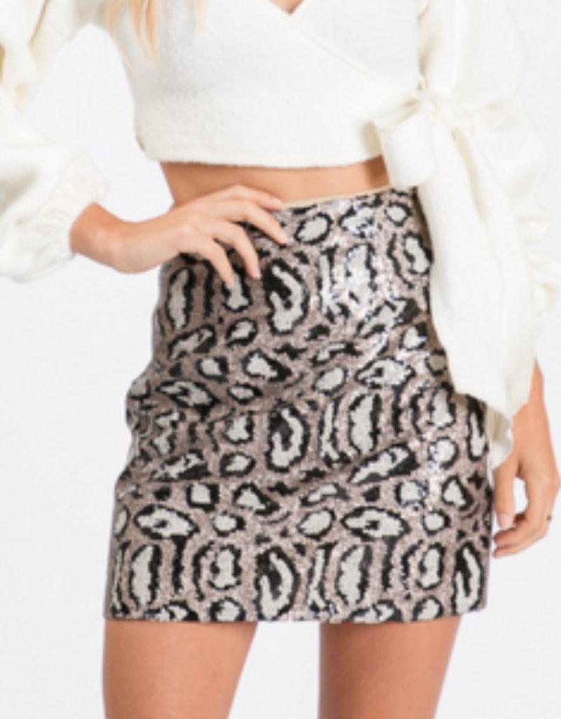 Sequins Leopard Print Skirt