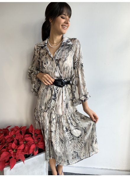 Long Ruffle Sleeve Button Down Dress w/Tie Front
