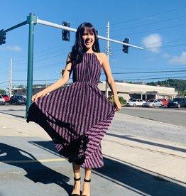 Rebecca Stripe Pleat Dress