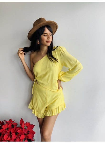 One Shoulder Ruffle Hem Romper