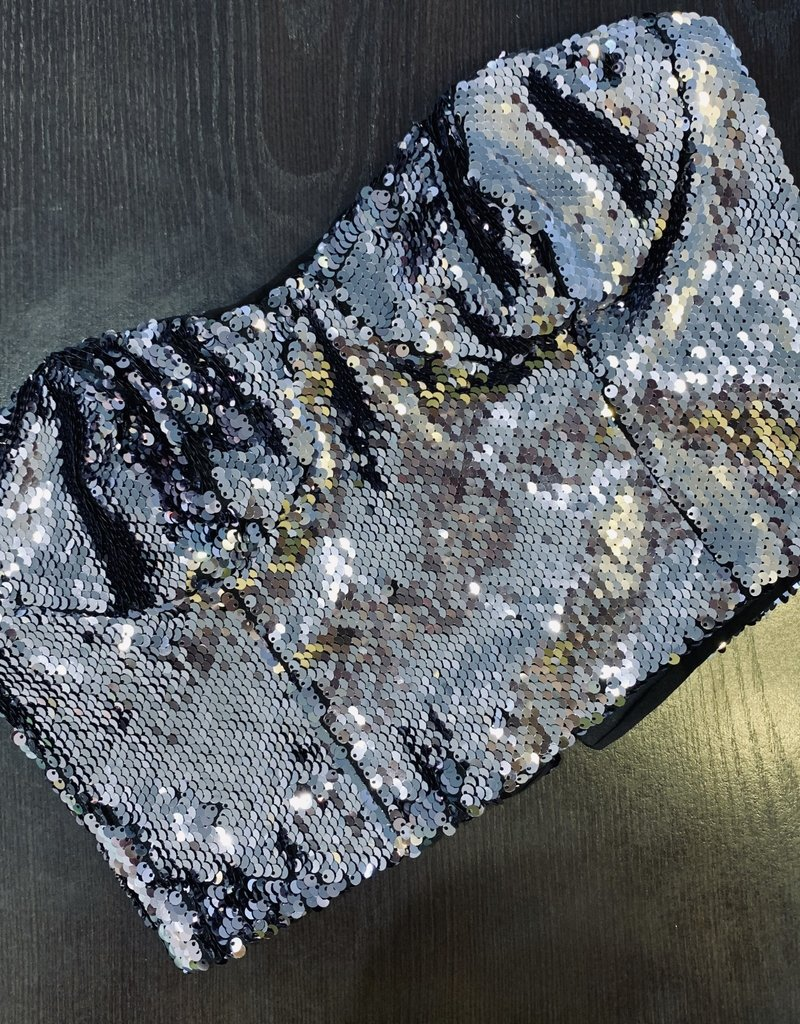 Jeanne Sequined Bustier - Charcoal