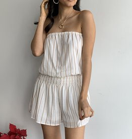 Stripe Tube Romper Smocking