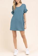 Tiered Ruffle Sleeve Scoop Neck Shift Dress