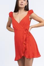 Short Sleeve Wrap Mini Dress