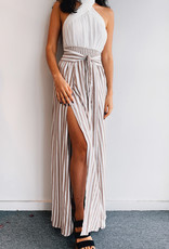 Skirt Side Taupe Stripe