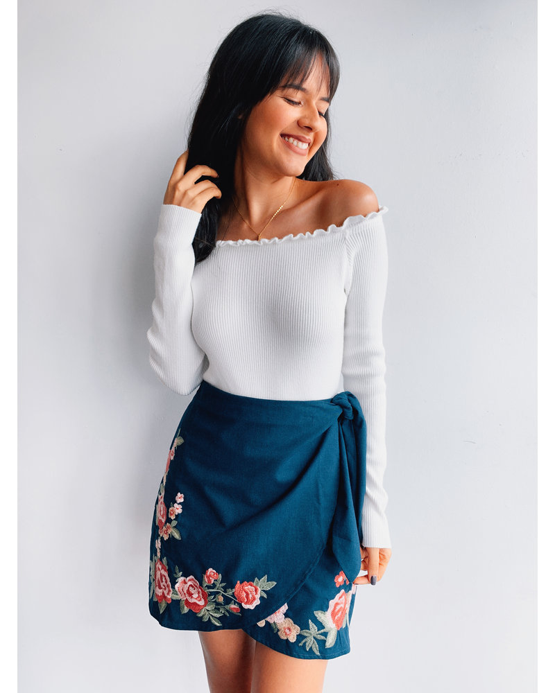 Dark Teal Floral Skirt