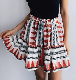 Red Aztec Print Skirt