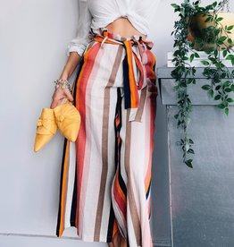 Ribbon Belt tripe Print Pants