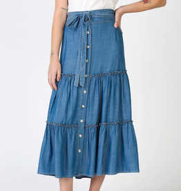 Lyocell Tiered Skirt w Self Tie