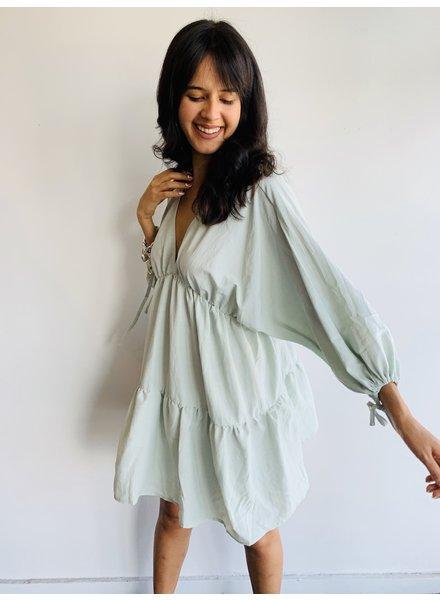 V Neck Mini Dress W Sleeve Detail