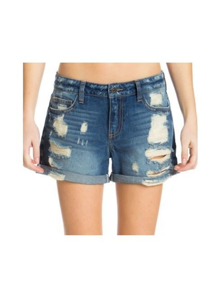 MidRise Rolled Hem Distress Boyfriend Short